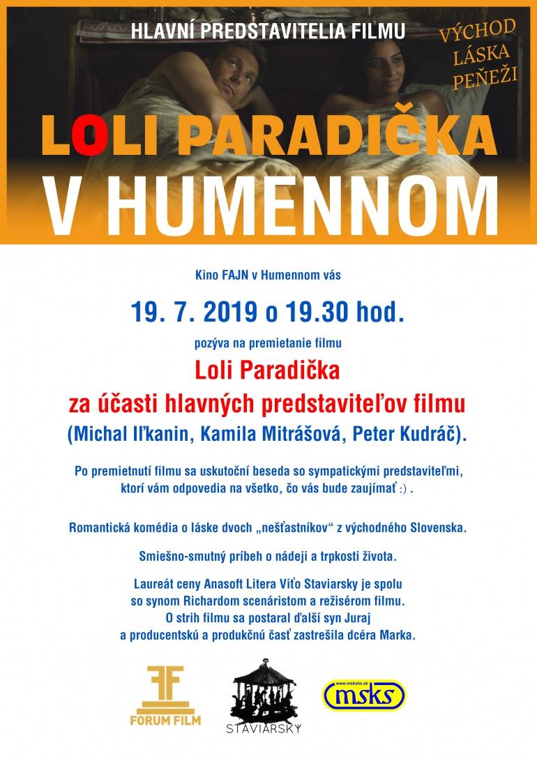 c7467202197c9 Kino FAJN pozýva na premietanie filmu LOLI PARADIČKA a besedu s ...