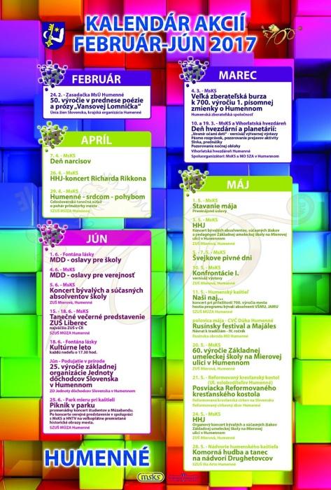 Kalendár športových a kultúrnych podujatí na prvý polrok 2017     Aktuality  a oznamy     Mesto Humenné     www.humenne.sk 930fe9d8432