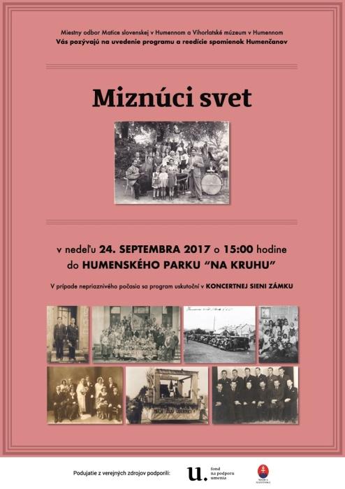 29573cbd96a5 Miznúci svet     Aktuality a oznamy     Mesto Humenné     www.humenne.sk