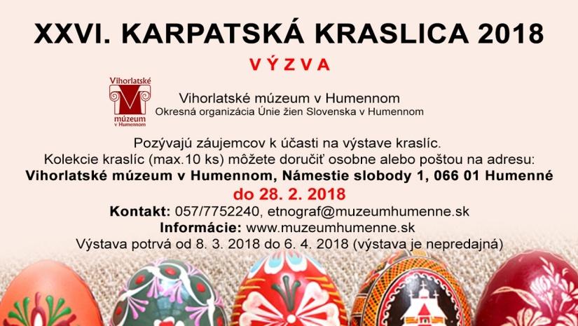 Karpatská Kraslica 2018 − V Ý Z V A     Aktuality a oznamy ... 345d204a5d1