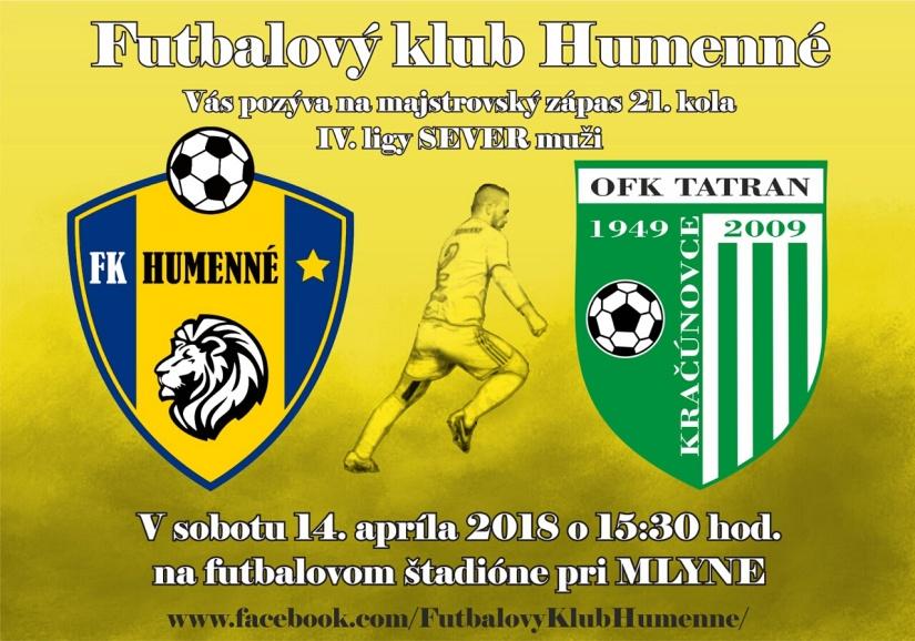 70afd203f7488 Pozvánka - FK Humenné vs. OFK Tatran Kračúnovce ::: Aktuality a ...