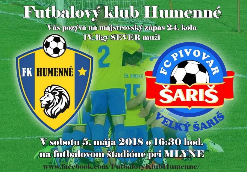 f3a650796 Pozvánka - FK Humenné vs. FC Pivovar Šariš Veľký Šariš ::: Aktuality ...