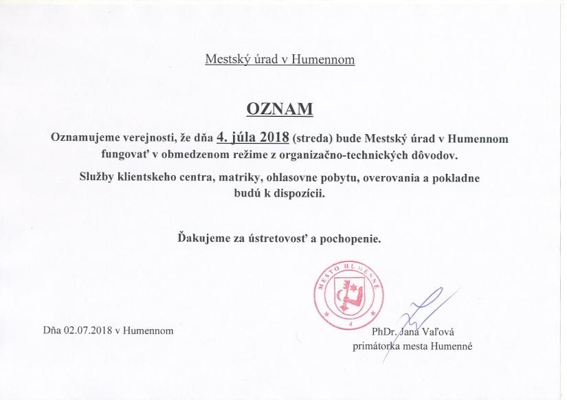 2d5b6ff1c Oznam verejnosti ::: Aktuality a oznamy ::: Mesto Humenné ::: www ...