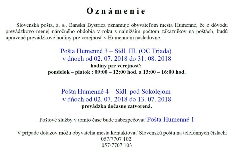 Oznam  Slovenská pošta     Aktuality a oznamy     Mesto Humenné ... 2ec51156767