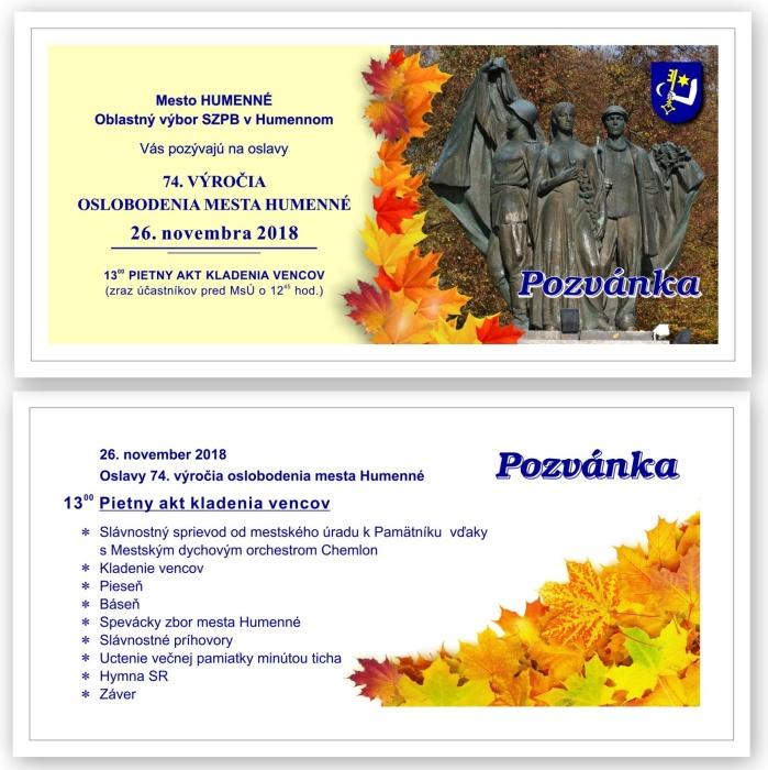 6dcbf5b7a Pozvánka na oslavy 74. výročia oslobodenia mesta Humenné ::: Aktuality a  oznamy ::: Mesto Humenné ::: www.humenne.sk