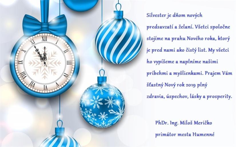 Silvestrovský pozdrav primátora mesta Humenné pre rok 2018     Aktuality a  oznamy     Mesto Humenné     www.humenne.sk 976917de913