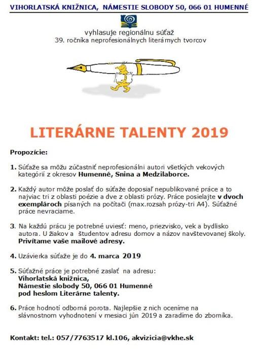 3fa5120ceaf74 Literárne talenty 2019 ::: Aktuality a oznamy ::: Mesto Humenné ...
