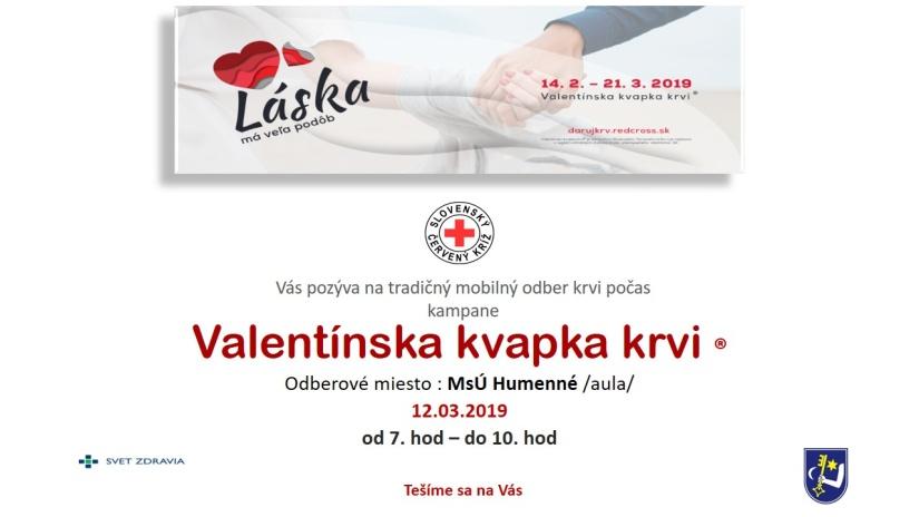2d0a309f8 Valentínska kvapka krvi sa uskutoční v priestoroch Mestského úradu v  Humennom ::: Aktuality a oznamy ::: Mesto Humenné ::: www.humenne.sk