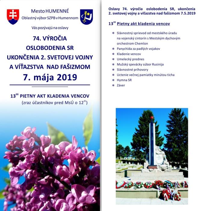 4818b51c4 Pozvánka na oslavy 74. výročia oslobodenia SR, ukončenia 2. sv. vojny a  víťazstva nad fašizmom