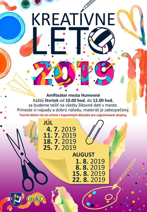 e04ee480b39e Kreatívne leto 2019     Aktuality a oznamy     Mesto Humenné      www.humenne.sk