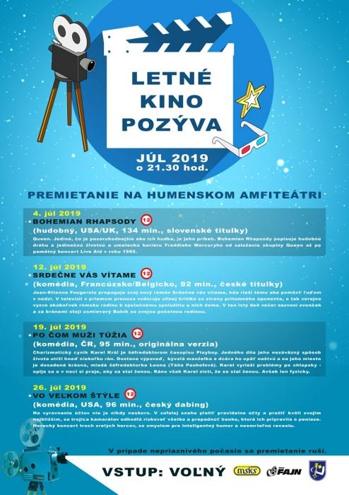 e68b104ac4 Letné kino pozýva na premietanie v júli 2019     Aktuality a oznamy      Mesto Humenné     www.humenne.sk